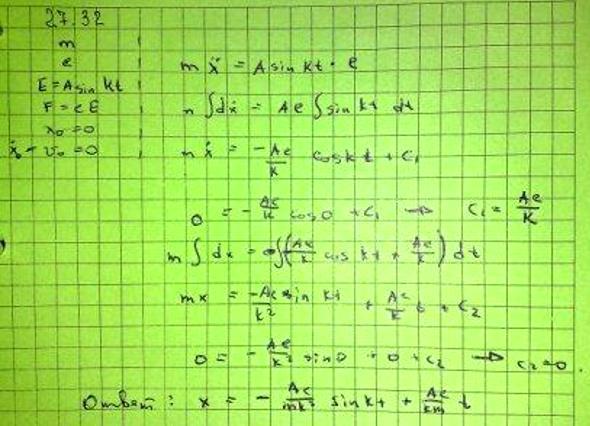 Частица массы m, несущая заряд электричества e, находится в однородном электрическом поле с переменным напряжением E=A sin kt (А и k — заданн..., Задача 3415, Теоретическая механика