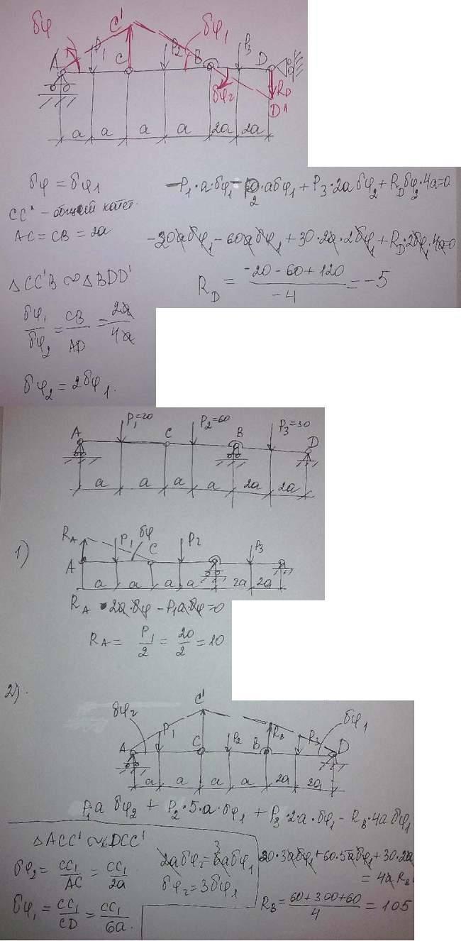 Составная балка AD, лежащая на трех опорах, состоит из двух балок, шарнирно соединенных в точке C. На балку действуют вертикально с..., Задача 4035, Теоретическая механика