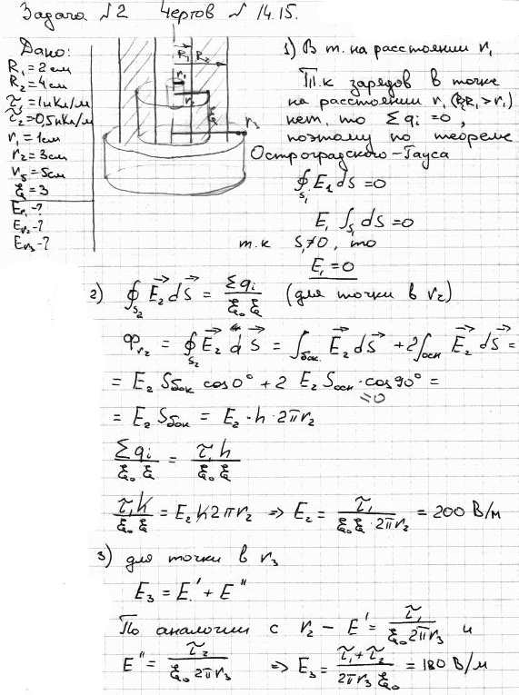 Две длинные тонкостенные коаксиальные трубки радиусами R1=2 см и R2=4 см несут заряды, равномерно распределенные по длин..., Задача 5770, Физика