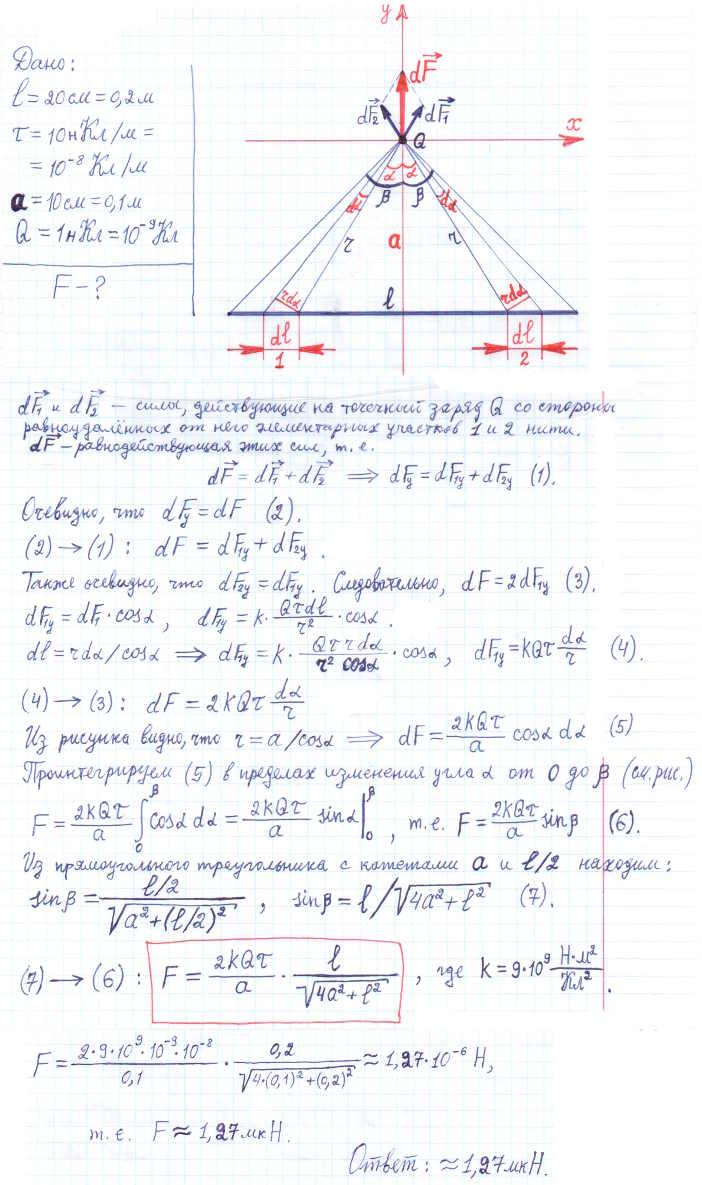 Тонкая нить длиной l=20 см равномерно заряжена с линейной плотностью τ=10 нКл/м. На расстоянии a=10 см от нити, проти..., Задача 5831, Физика