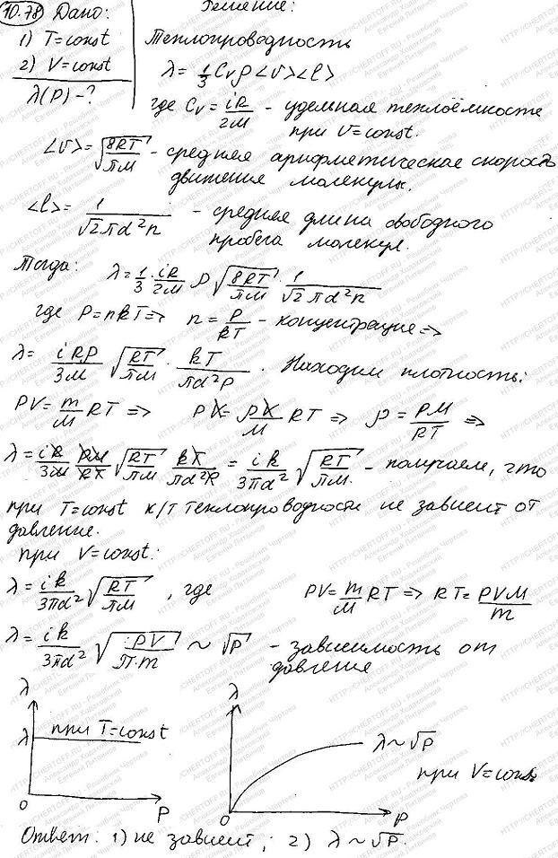 Найти зависимость теплопроводности от давления при следующих процессах: изотермическом; изох..., Задача 6072, Физика